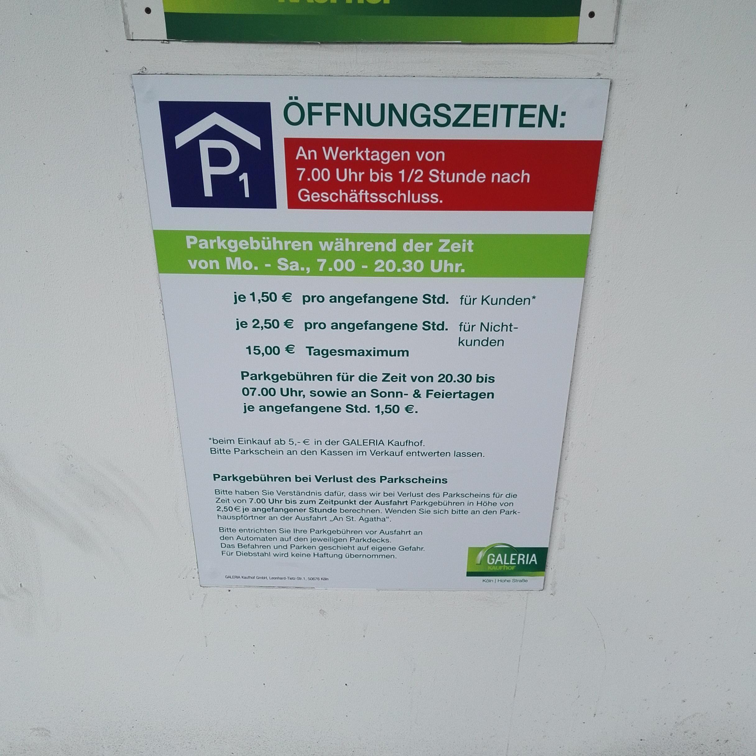 Galeria Kaufhof: Galeria Kaufhof - P1 - Parking In Köln