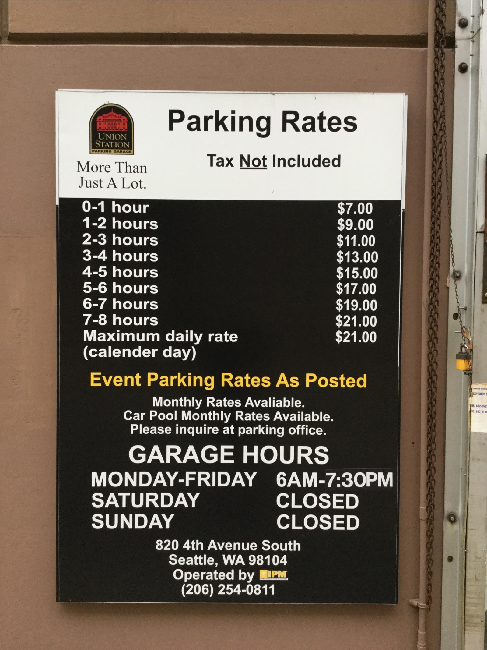 Validating parking at union station