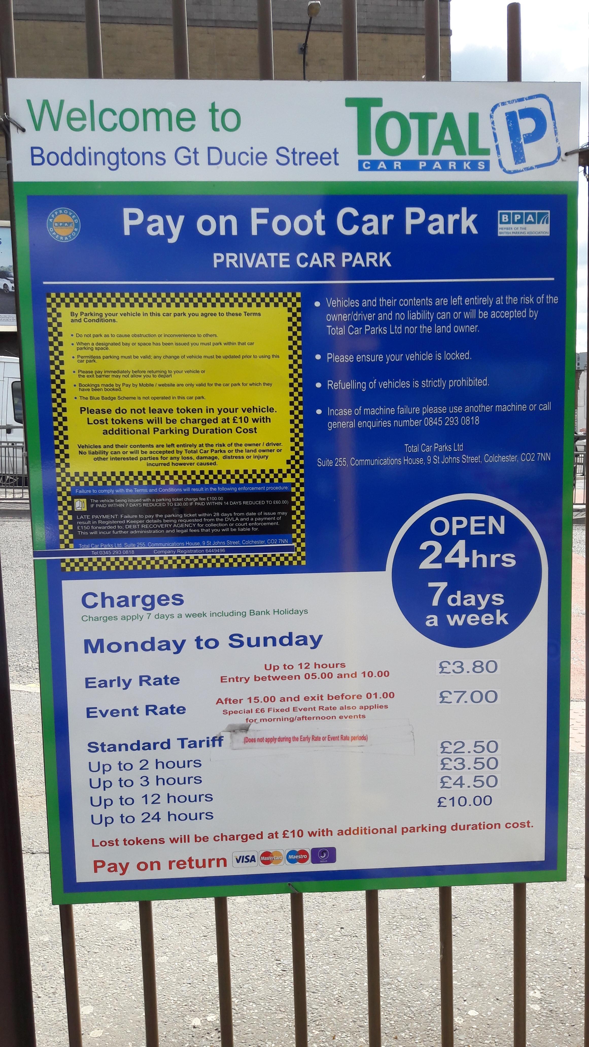 Boddingtons Car Park