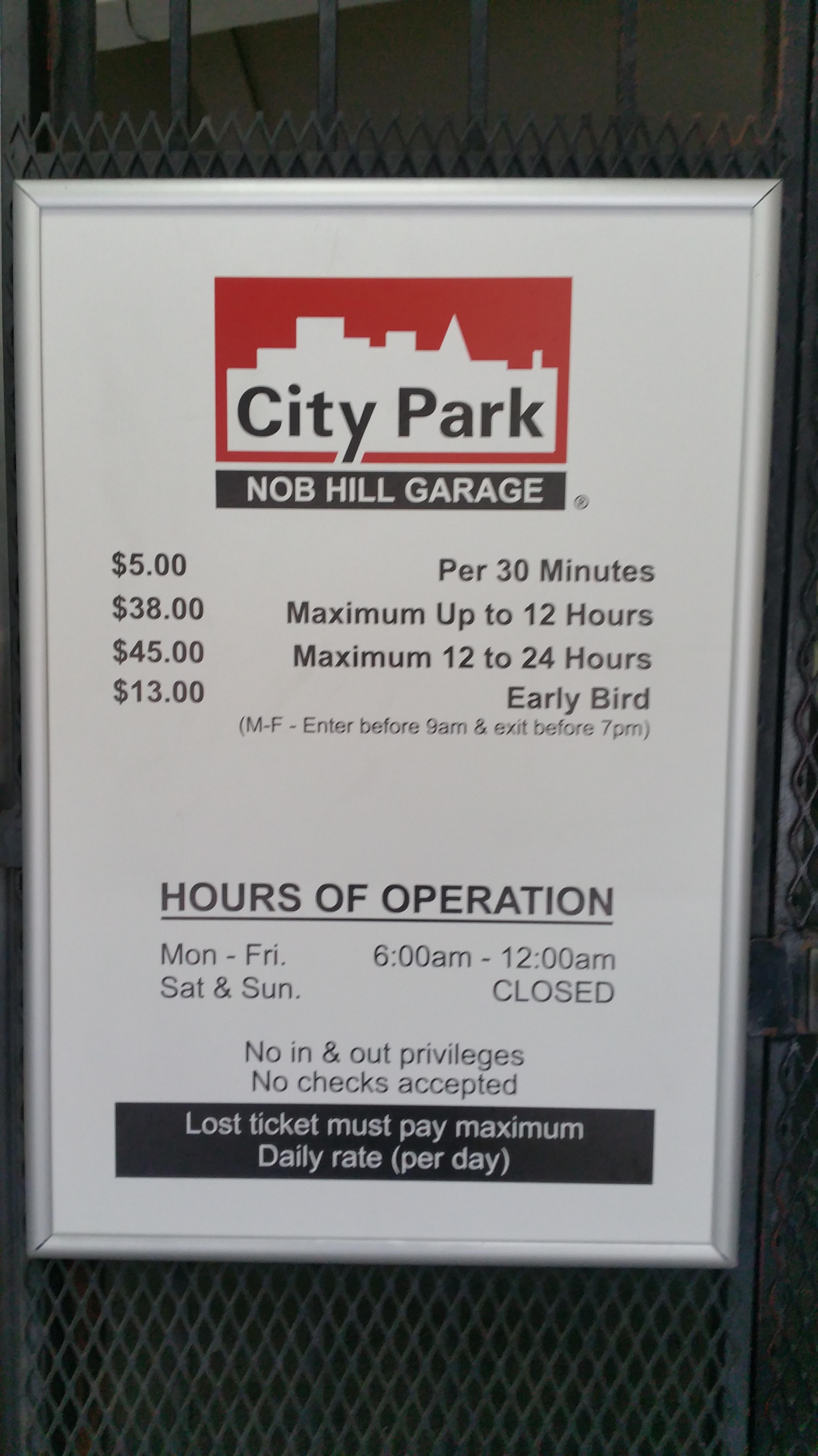 Nob Hill Hours >> Nob Hill Garage Parking In San Francisco Parkme